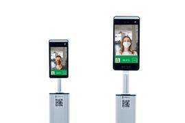 TeMaScan Designsäule Hauttemperatur Fieber Messung und Maskenerkennung